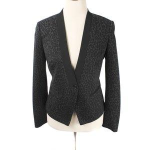 Ann Taylor LOFT Black & Gray Leopard Print Blazer